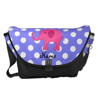 Personalized name pink elephant purple polka dots courier bags