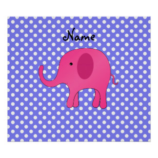Personalized name pink elephant purple polka dots print