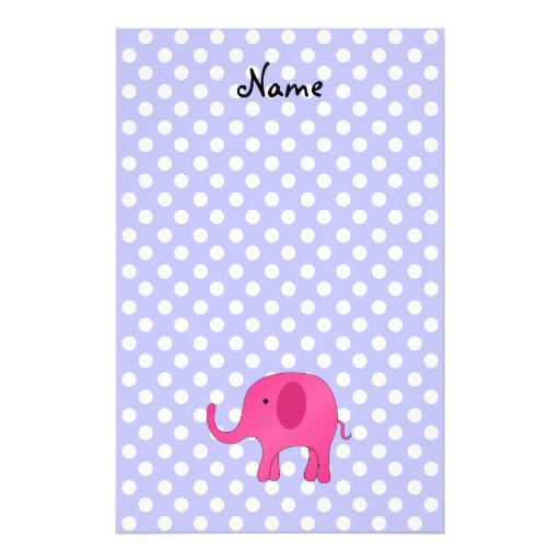 Personalized name pink elephant purple polka dots personalized stationery