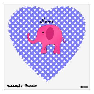 Personalized name pink elephant purple polka dots wall decor
