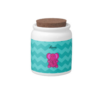 Personalized name pink elephant turquoise chevrons candy jars
