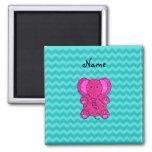Personalized name pink elephant turquoise chevrons fridge magnet