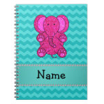 Personalized name pink elephant turquoise chevrons spiral notebooks