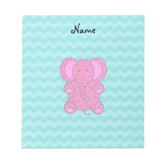 Personalized name pink elephant turquoise chevrons notepad