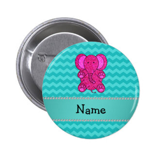 Personalized name pink elephant turquoise chevrons pinback button