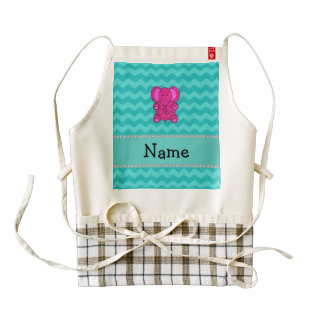 Personalized name pink elephant turquoise chevrons zazzle HEART apron