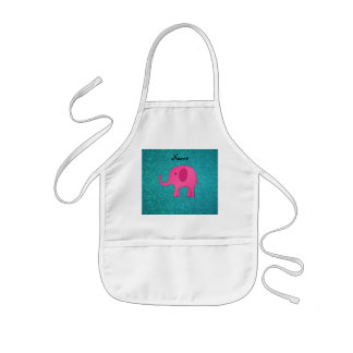 Personalized name pink elephant turquoise glitter kids' apron