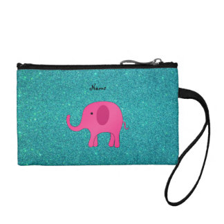 Personalized name pink elephant turquoise glitter coin wallet