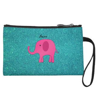 Personalized name pink elephant turquoise glitter wristlets