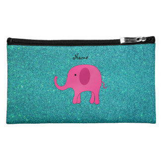 Personalized name pink elephant turquoise glitter cosmetics bags