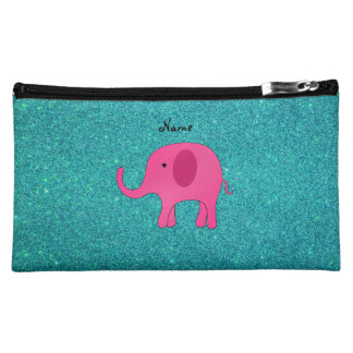 Personalized name pink elephant turquoise glitter makeup bag