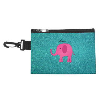 Personalized name pink elephant turquoise glitter accessories bag
