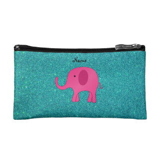 Personalized name pink elephant turquoise glitter cosmetic bag