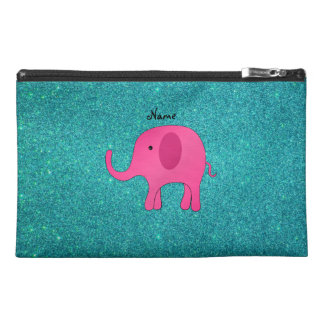 Personalized name pink elephant turquoise glitter travel accessories bags