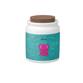 Personalized name pink elephant turquoise glitter candy dish