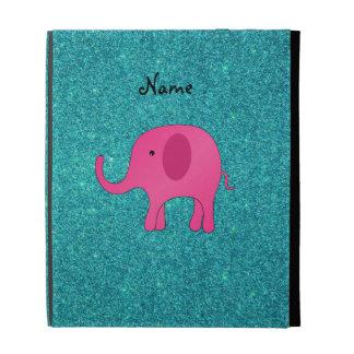 Personalized name pink elephant turquoise glitter iPad cases