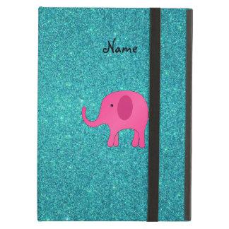 Personalized name pink elephant turquoise glitter iPad case