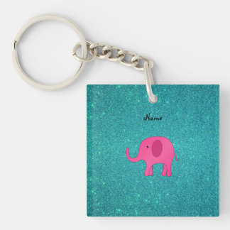 Personalized name pink elephant turquoise glitter square acrylic key chains
