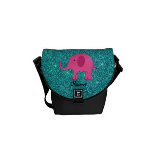 Personalized name pink elephant turquoise glitter messenger bags