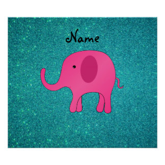 Personalized name pink elephant turquoise glitter print