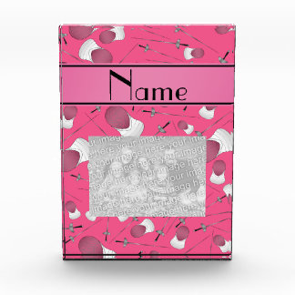 Personalized name pink fencing pattern acrylic award
