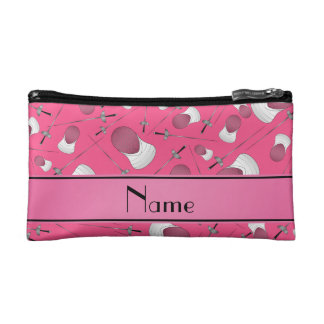 Personalized name pink fencing pattern cosmetic bag