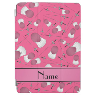 Personalized name pink fencing pattern iPad air cover