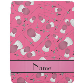 Personalized name pink fencing pattern iPad cover