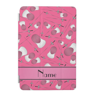 Personalized name pink fencing pattern iPad mini cover