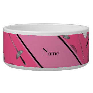 Personalized name pink fencing pattern dog water bowls