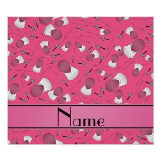 Personalized name pink fencing pattern poster