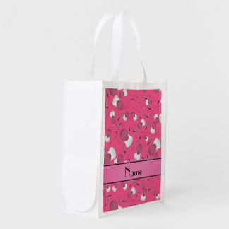 Personalized name pink fencing pattern market tote