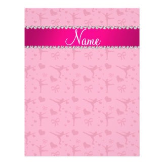 "Personalized name pink figure skating 8.5"" x 11"" flyer"
