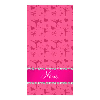 Personalized name pink figure skating photo card