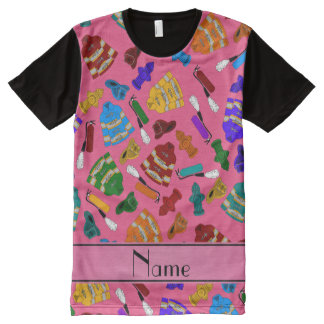 Personalized name pink fire jackets hydrants All-Over print t-shirt