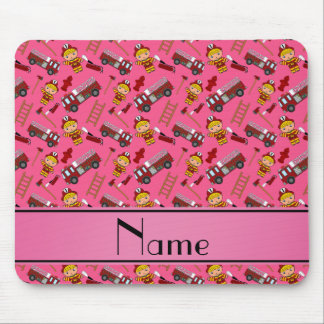 Personalized name pink firemen trucks ladders mouse pad
