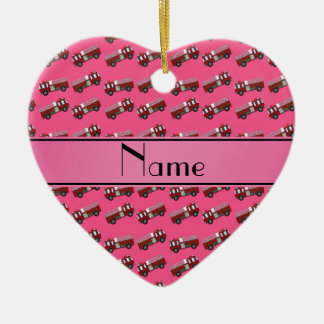 Personalized name pink firetrucks Double-Sided heart ceramic christmas ornament