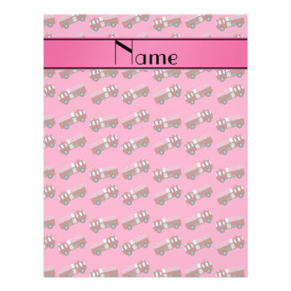 "Personalized name pink firetrucks 8.5"" x 11"" flyer"