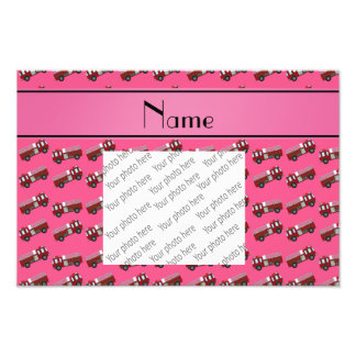 Personalized name pink firetrucks photograph