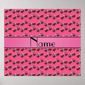 Personalized name pink firetrucks print