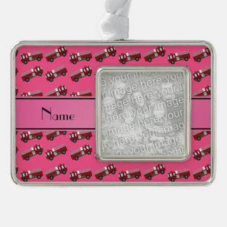 Personalized name pink firetrucks silver plated framed ornament