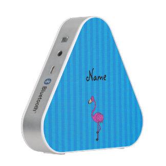 Personalized name pink flamingo blue stripes speaker