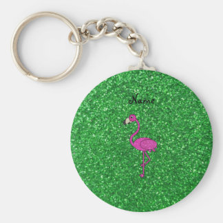 Personalized name pink flamingo green glitter basic round button keychain