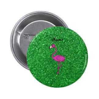 Personalized name pink flamingo green glitter pinback button