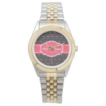 Personalized Name Pink Flamingo Pattern Wrist Watch