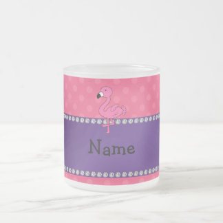 Personalized name pink flamingo pink polka dots frosted glass coffee mug