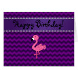 Personalized name pink flamingo purple chevrons large greeting card