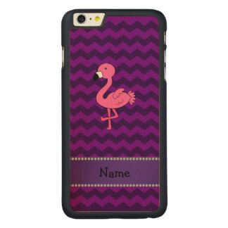 Personalized name pink flamingo purple chevrons carved maple iPhone 6 plus slim case