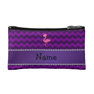 Personalized name pink flamingo purple chevrons cosmetic bag