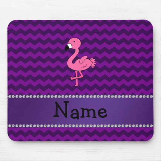 Personalized name pink flamingo purple chevrons mouse pad